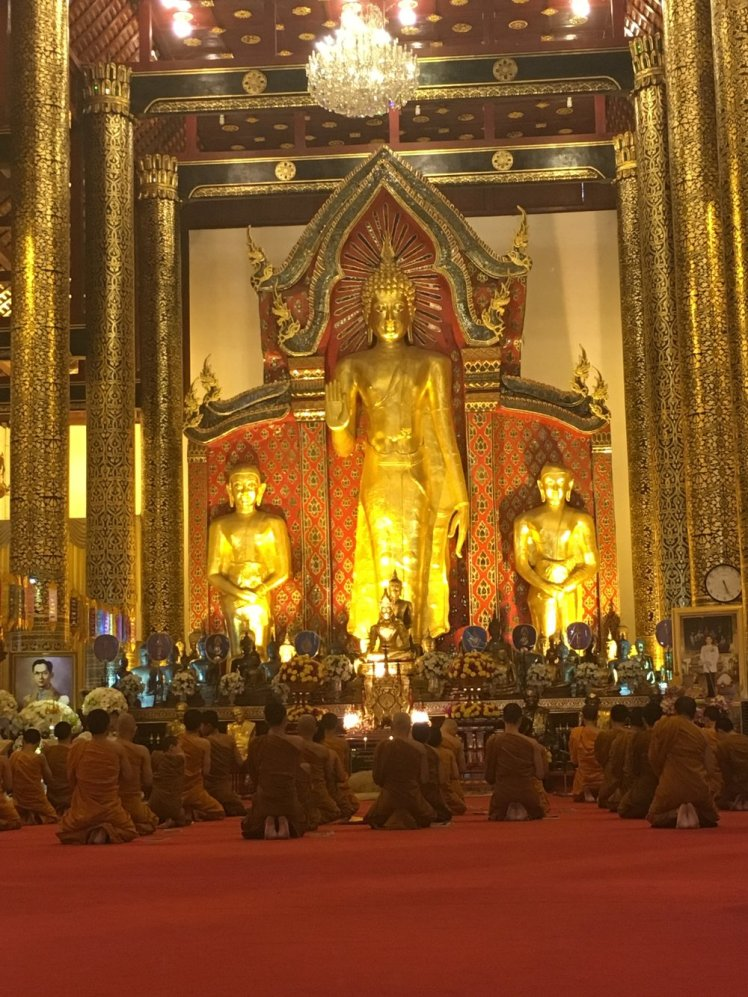Wat Chedi Luang Temple. We were able to make it at the time the monks all gathered to pray.